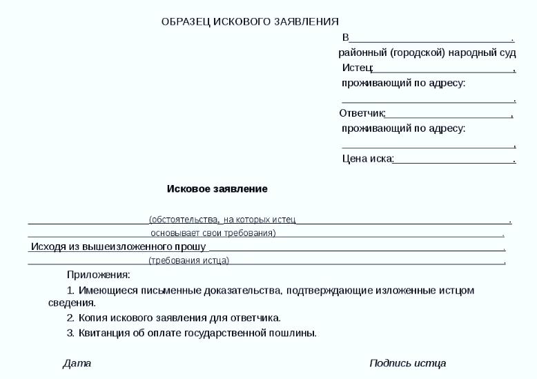 Образец типичного искового заявления в суд